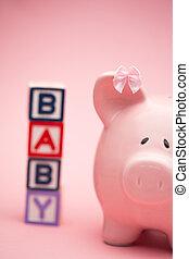 cerdito, Banco, Bloques, ortografía, bebé