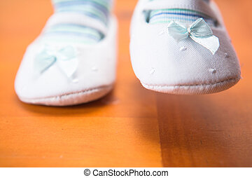First steps - Babys first steps on wooden floor