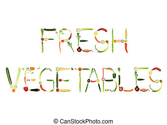 Fresh Vegetables - Vegetable selection spelling the words...