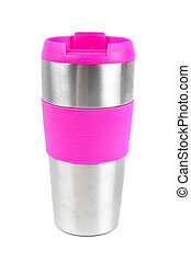 thermos - pink thermos cup over white