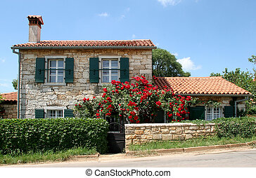 Typical country house villa in Istria, Croatia.