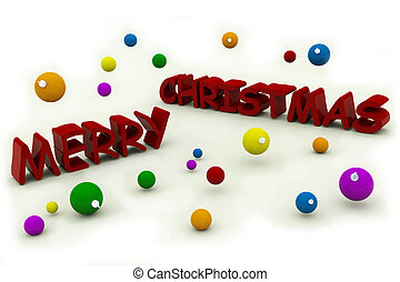 merry christmas text with tree ornaments isolated on white...