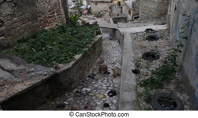 impoverished neighborhood in Port-au-Prince Haiti