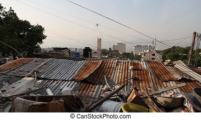 view of Port-au-Prince Haiti and rusty tin roofs