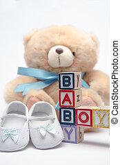 Bloques, ortografía, bebé, niño, teddy,...