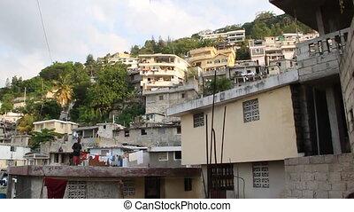 pan across extensive hillside neighborhoods in...