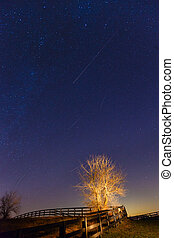 Meteor shower - View of Geminid meteor shower on December...