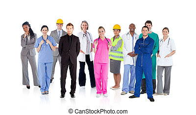 Different careers on white background