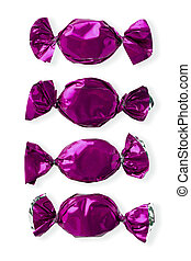purple hard candies arranged side by side - Close-up shot of...