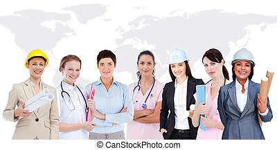 Happy women workers of diverse industries on world map...