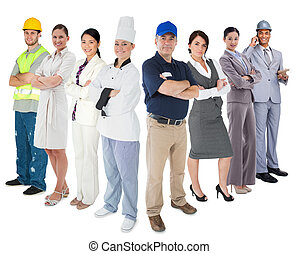 Different types of workers standing against white backgorund