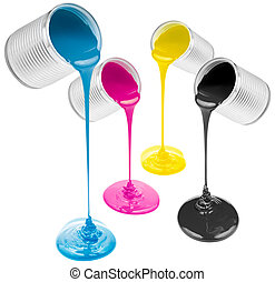 cmyk pouring paints from cans isolated on white - cmyk ink...