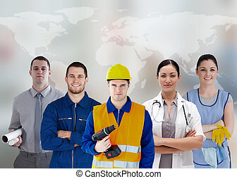 Five workers of different industries on world map background