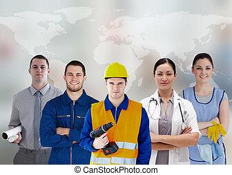 cinco, trabajadores, diferente, industrias