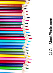 rainbow of coloured crayons