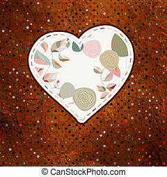 Floral heart with hand drawn flowers. EPS 8