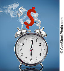 Smoking alarm clock with dollar signs on blue background