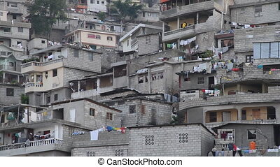 close-up of hillside neighborhood of Port-au-Prince Haiti
