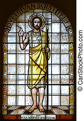 Saint John the Baptist - Stained glass with Saint John the...