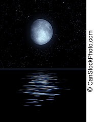 Full moon reflected in water - The full moon in the night...