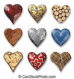 Assortment of hearts - Photos of nine heart-shaped things...