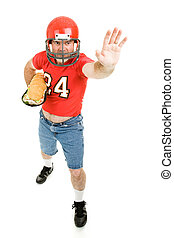 Football Player with Sub Sandwich