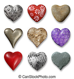 Selection of hearts - Photos of nine heart-shaped things...