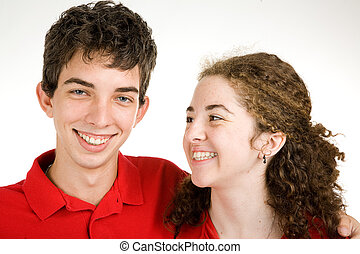 Teen Couple Joking Around - Cute teen couple sharing a laugh...