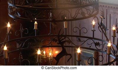 iron chandelier in European hotel