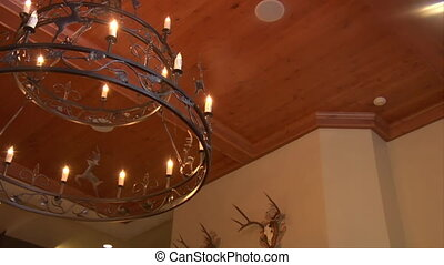 iron chandelier in European hotel