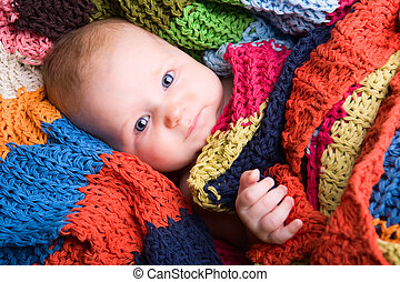 Blue Eyes - Portrait of three month old baby girl with big...