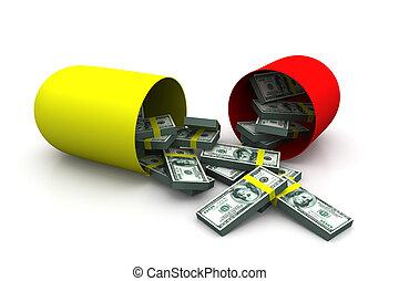 Open capsule with money