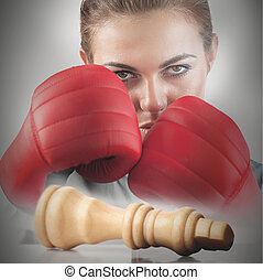 Powerful female boxer with knocked