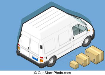 isometric white van