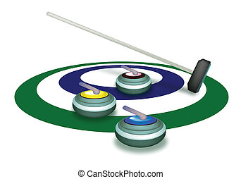 A Collection of Curling Stones on Ice Ring - Winter Sport :...