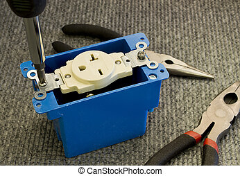 power outlet - installing a 220 volt outlet into a plastic...
