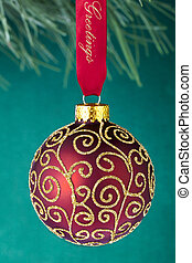 red christmas bulb with shiny decoration