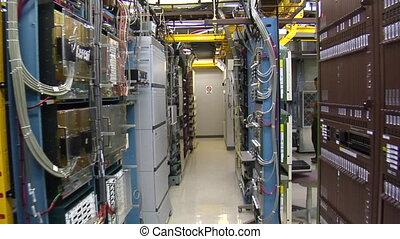 IT technician works in computer server room