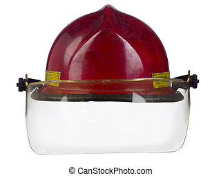 red helmet of a fireman - Close-up image of a red helmet of...