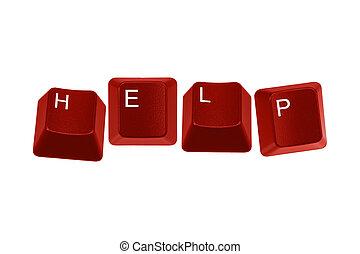 Red keyboard keys spelling HELP - Multiple keyboard keys...