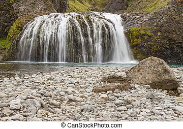 Mountain brook - Iceland. - Cascade on mountain brook near...