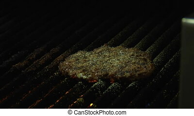 close-up on Burger cooking with flame
