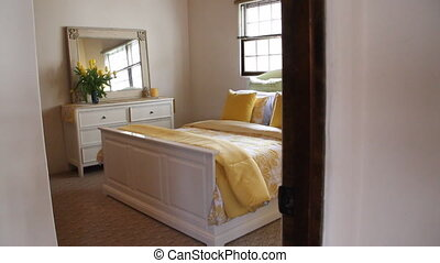beautiful sunny bedroom with yellow flowers