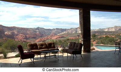 steadicam through large desert home with incredible view
