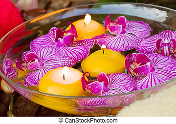 spa with candles