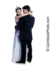 romantic prom couple dancing - Full length image of romantic...