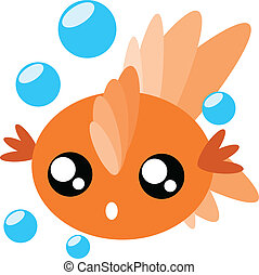 Cartoon goldfish illustration - Cartoon goldfish and water...