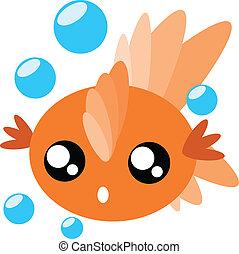 Cartoon goldfish illustration - Cartoon goldfish and water...