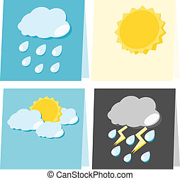 Paper weather icon illustration - Paper weather icon sun...