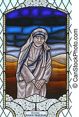 Blessed Mother Teresa - Stained glass with blessed Mother...